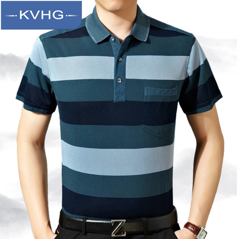 Kvhg new 2016 iron fashion lapel striped t-shirt bottoming shirt summer middle-aged men short sleeve men 4349