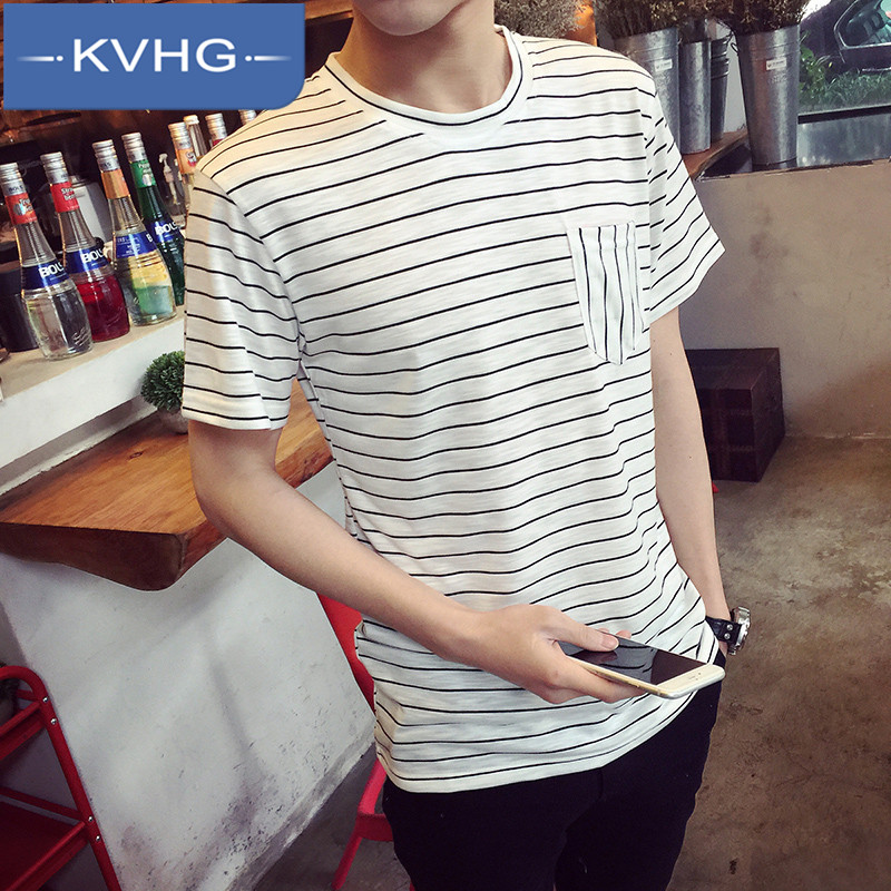 Kvhg new 2016 summer youth fashion round neck striped t-shirt slim short sleeve men's shirt tide 0179
