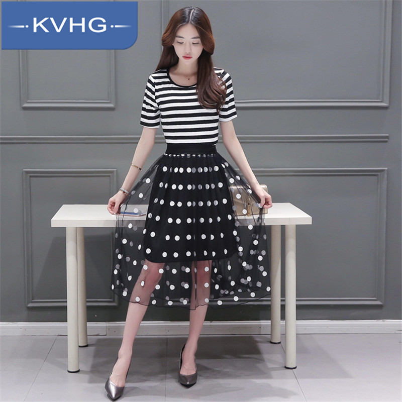 Kvhg women new 2016 summer new fashion striped shirt long section was thin two piece dress 7655