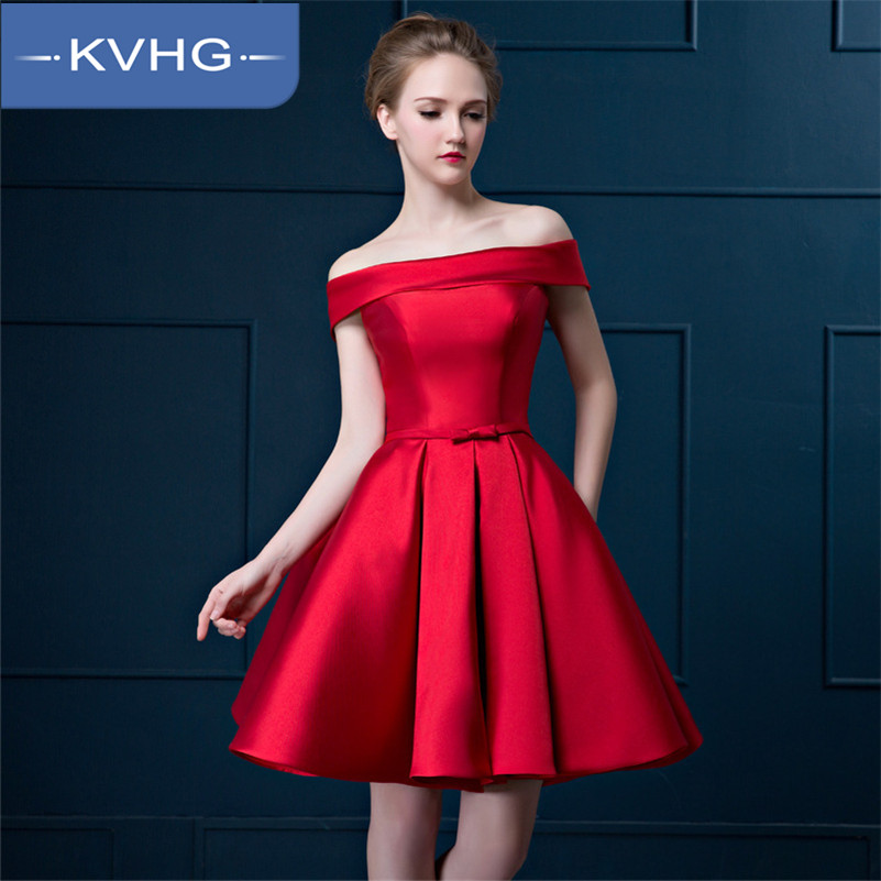 KVHG2015 new dress toast the bride dress bridesmaid dress evening dress short paragraph the word shoulder dress 1382