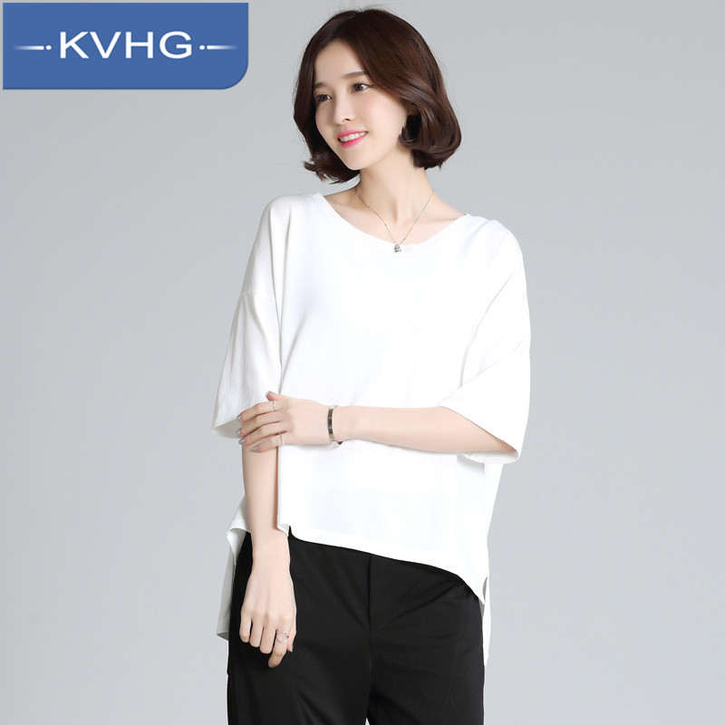 KVHG2016 loose and comfortable fashion women's small fresh summer thin section fifth sleeve solid color knit tops 0584