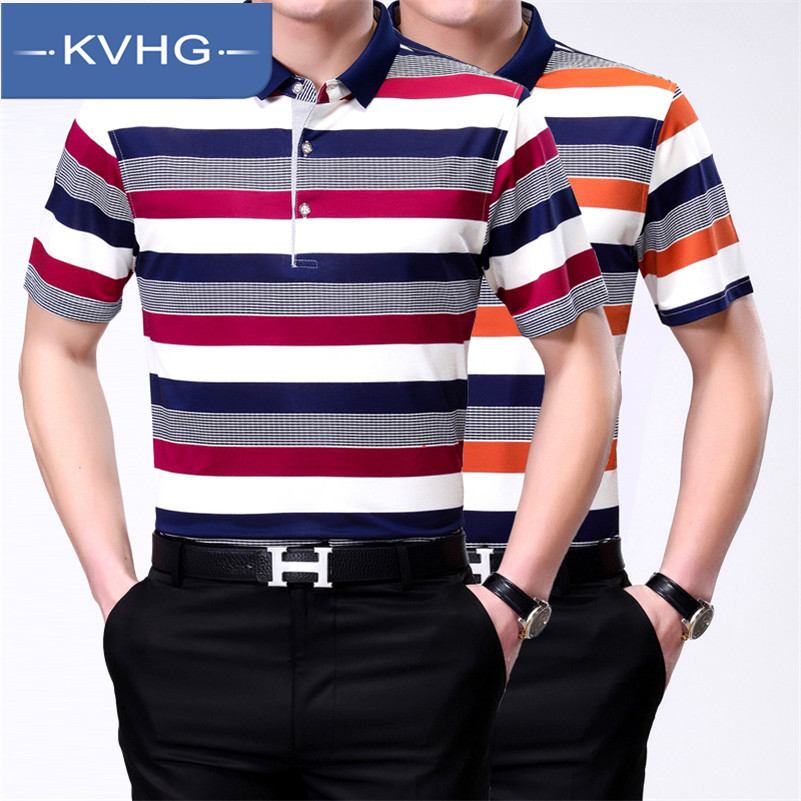 KVHG2016 new fashion business casual men's short sleeve t-shirt lapel middle-aged middle-aged dad dress tide 7 309