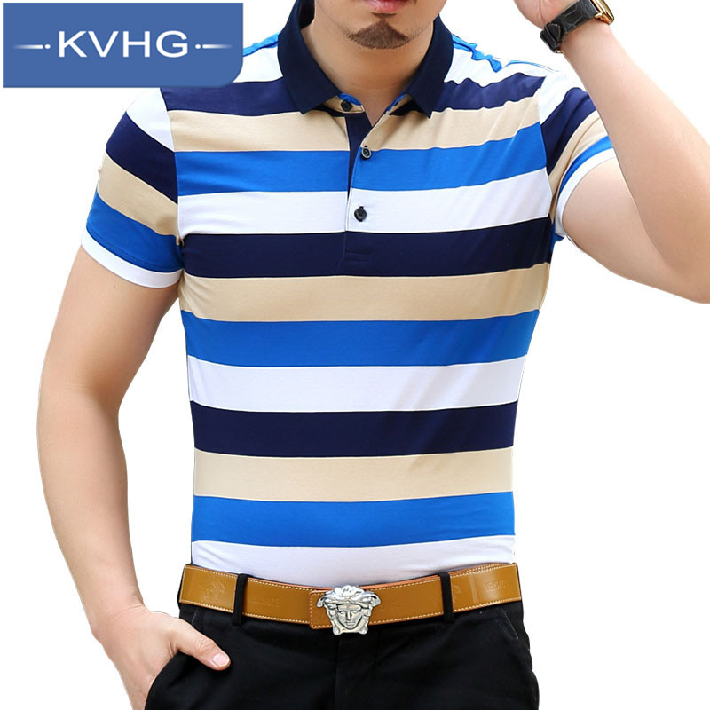 KVHG2016 new summer fashion striped t-shirt lapel middle-aged men short sleeve t-shirt slim comfortable 5236