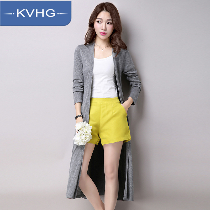 KVHG2016 new women's knit cardigan sweater collar loose solid color sun shirt women's fashion a word tide 5934
