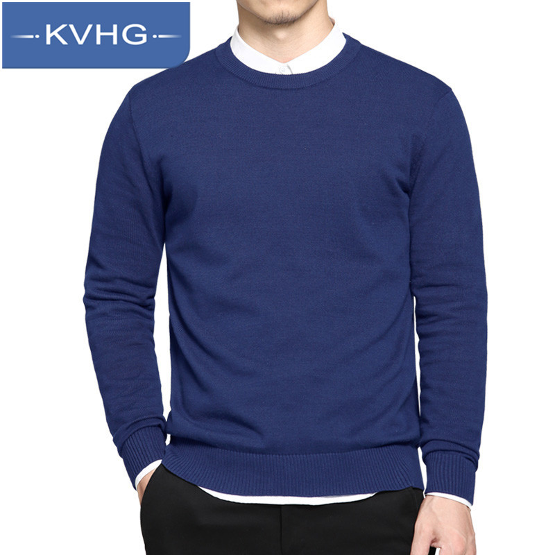 KVHG2016 new young male solid color thin section bottoming comfortable round neck sweater hedging fashion sweater 7005