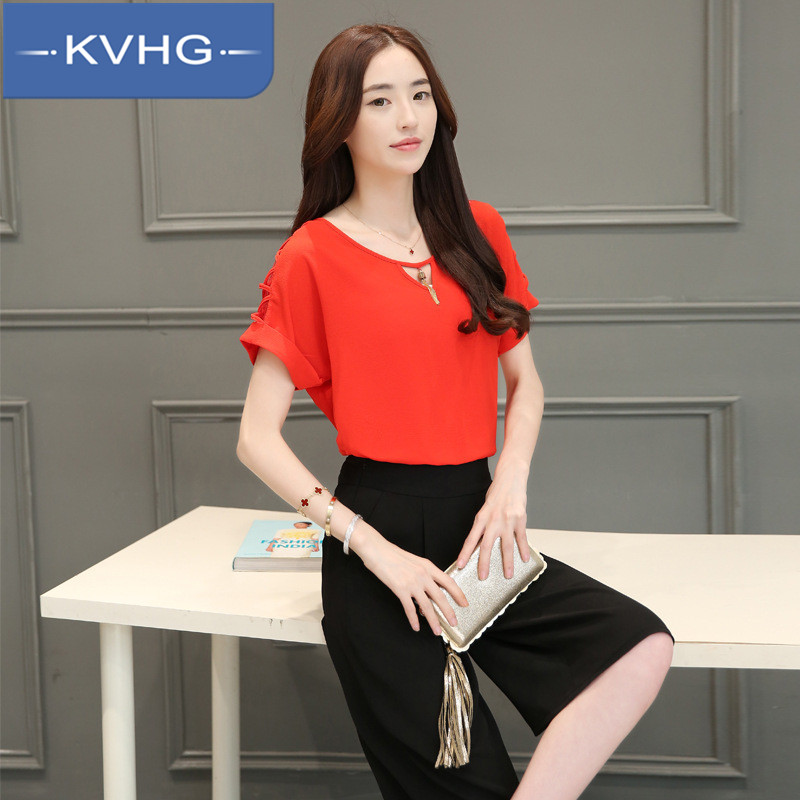 KVHG2016 summer new chiffon lace shirt fashion slim thin wild solid color shirt shirt female 9485