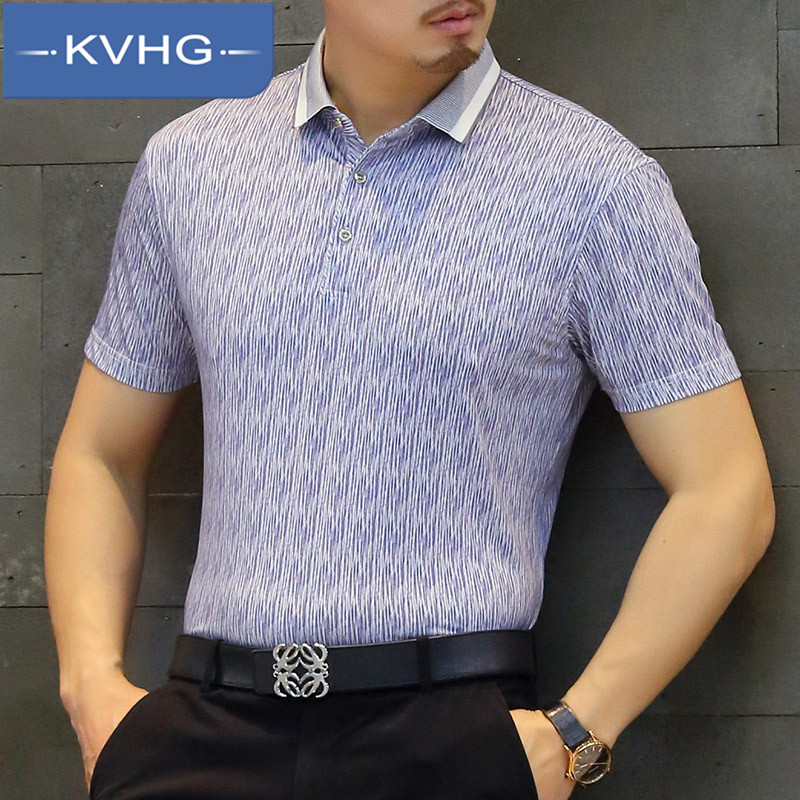 KVHG2016 summer new middle-aged business casual shirt slim shirt tide wild men short sleeve t-shirt 6963
