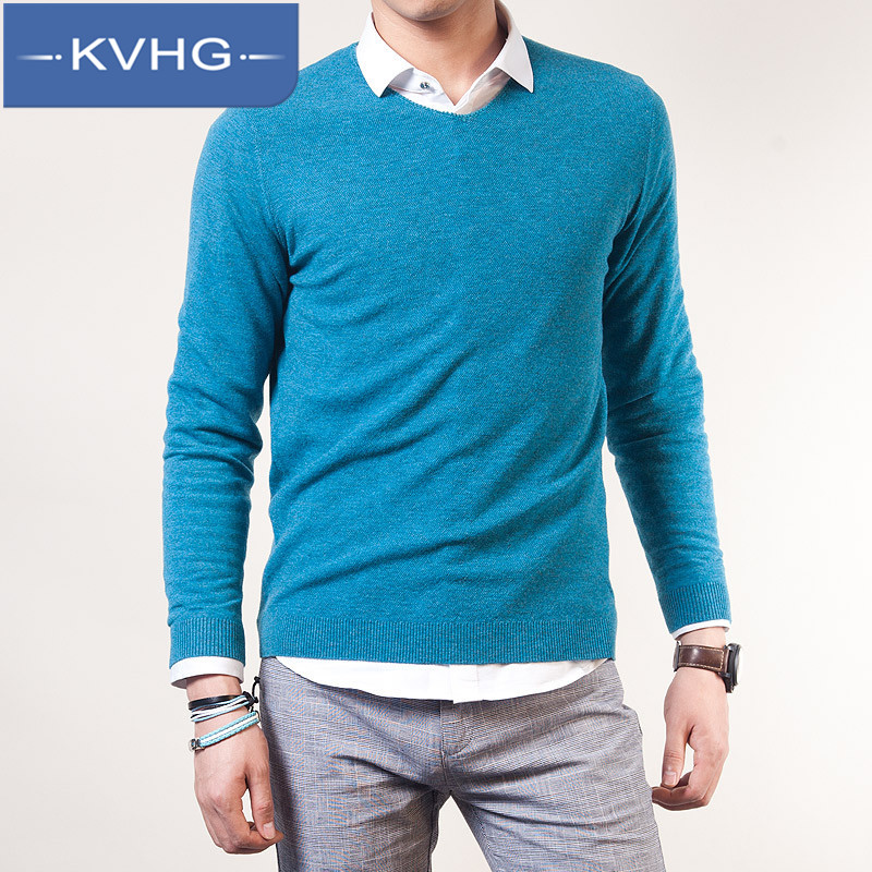 KVHG2016 sweater fashion new men's sweater men hedging slim thin solid color shirt male 9132