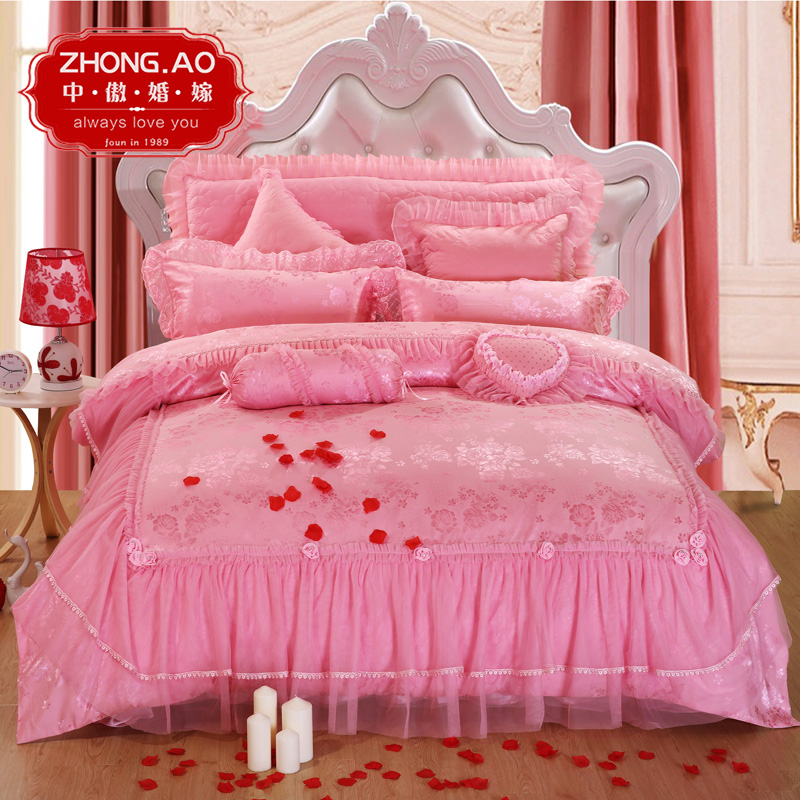 Lace bed skirt denim wedding big red wedding bedding four sets of eight 10 pink wedding quilt liu jiantao