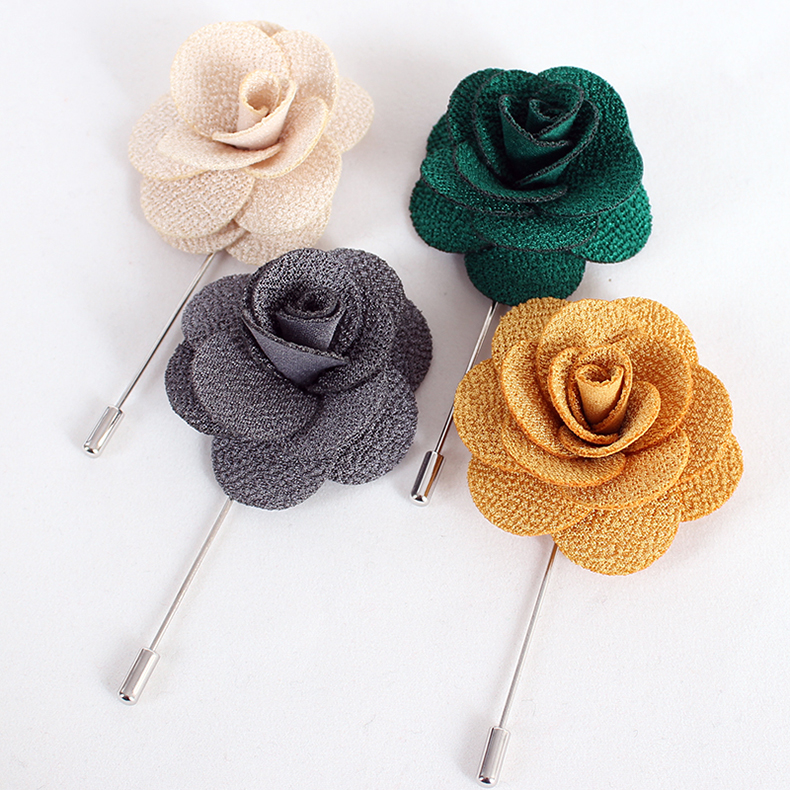 Lace rose flower brooch texture upscale men's suit corsage brooch korean version of the upscale fashion brooch