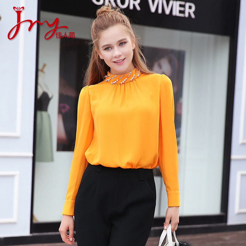 Lady yuan 2016 hitz beaded collar small wild solid color shirt fashion superior elegance bottoming shirt long sleeve