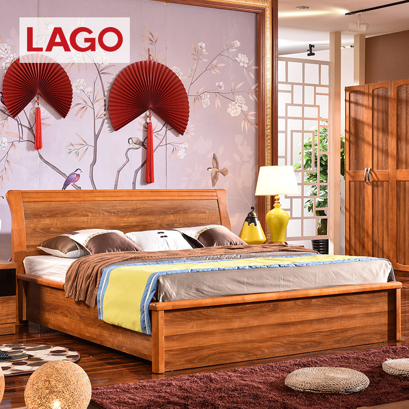 Lago modern chinese solid wood furniture oak wood bed 1.8 m double marriage bed 6a07