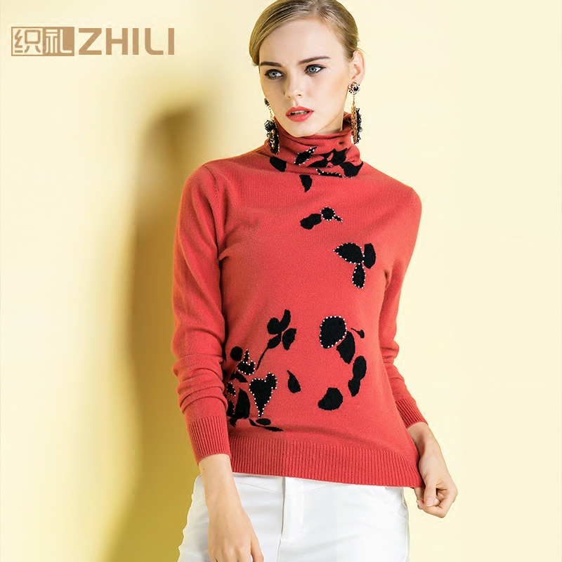 Lai 2015 new winter high collar knit cashmere sweater women piles collar hedging sweater repair body pure cashmere sweater bottoming