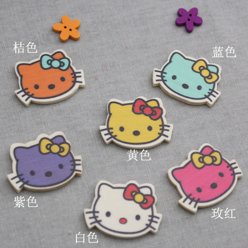 Lai mia decorative wood chips jewelry cute kt cat head 6 color options