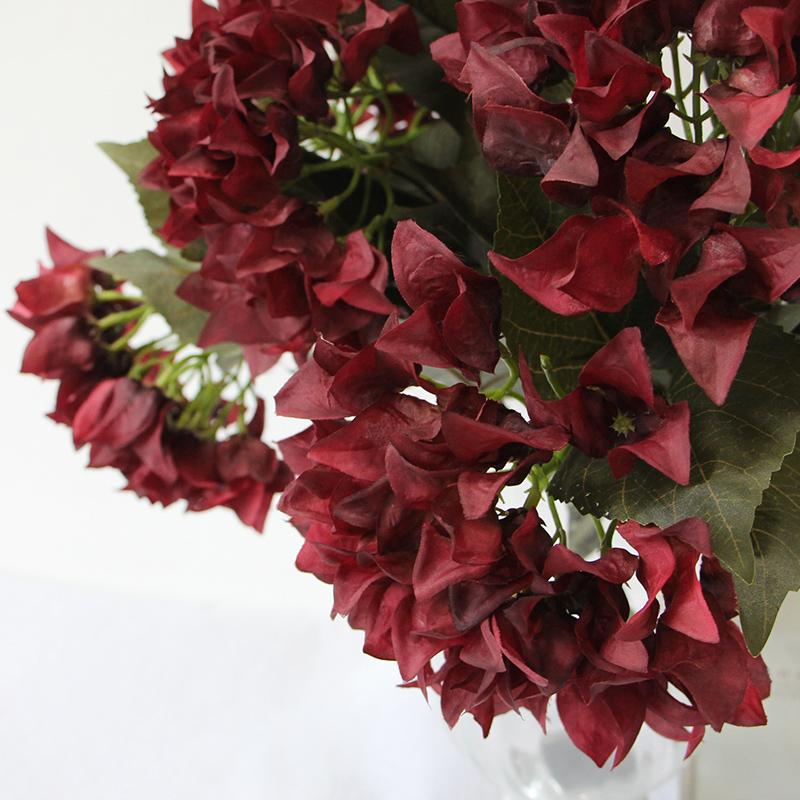 Lamome simulation flower/simulation hydrangea european single branch 5 dark red/sample room home decorative flowers