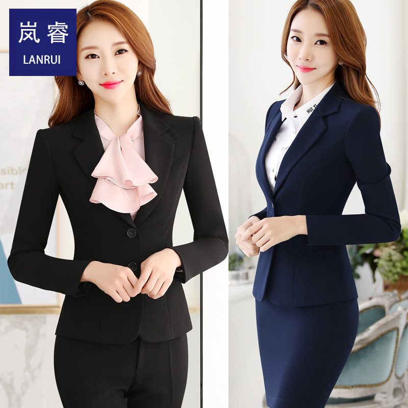 Lan rui 2016 new career suits temperament was thin suit black and blue two color capable perfect dress uniforms foreman
