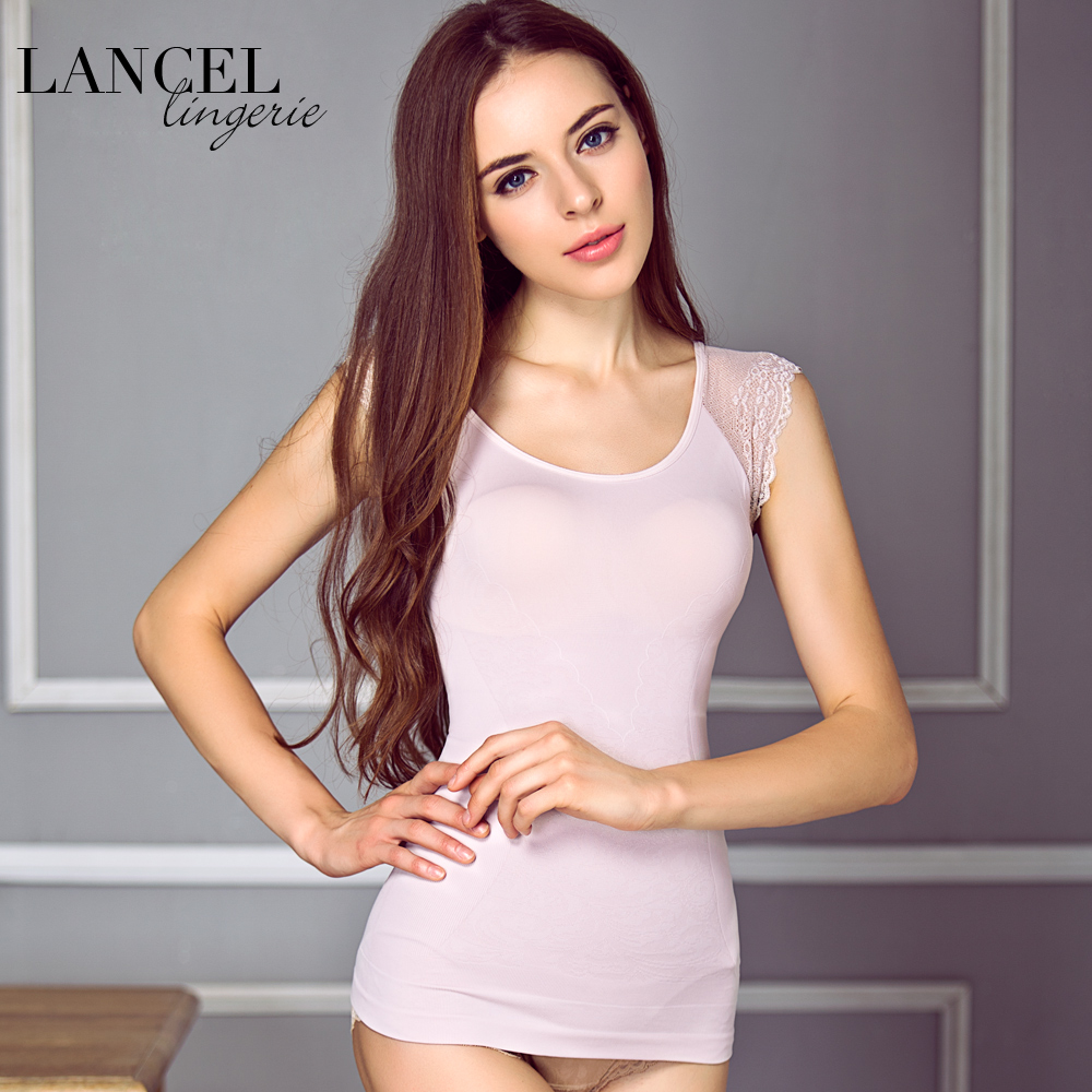 Lancel na big round neck short sleeve lace corset waist body sculpting body sculpting t-shirt shirt bottoming shirt