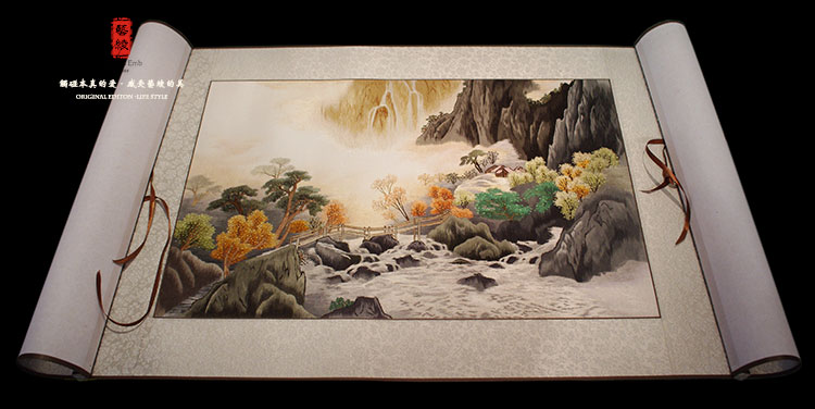 Landscape landscape painting the finished embroidery handmade silk embroidery art painting decorative painting pure artificial embroidered chinese song jin fine embroidered gift