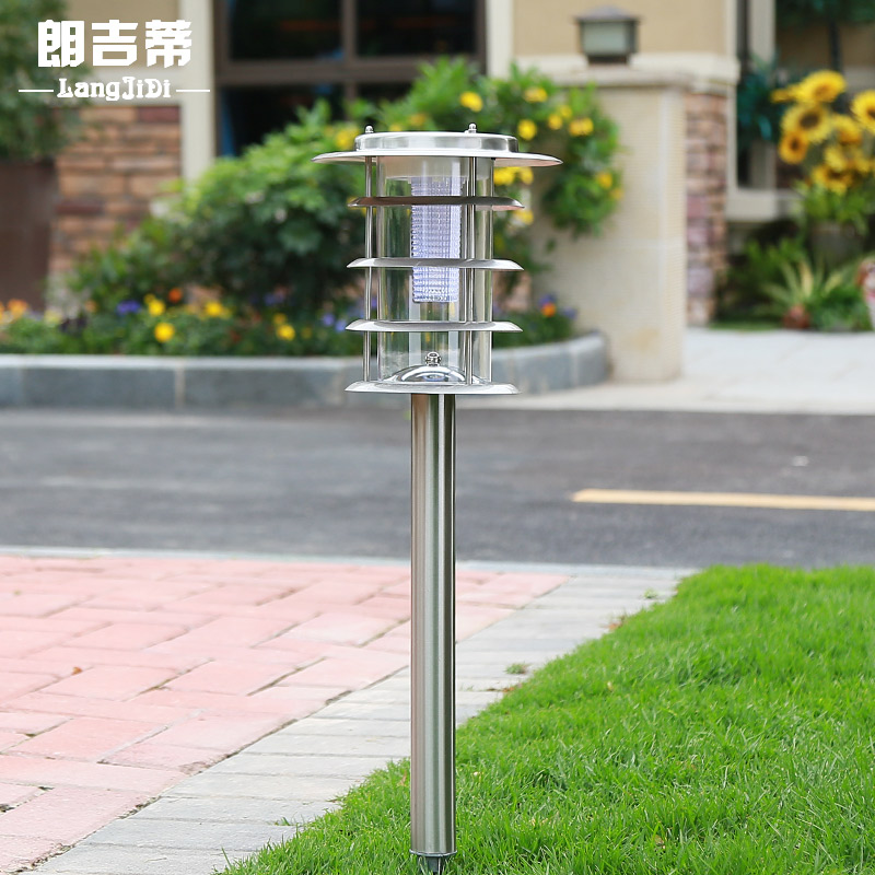 Lang lang kitty outdoor led solar lights lawn lamp lawn lights stainless steel lights inserted landscape garden lights street lights