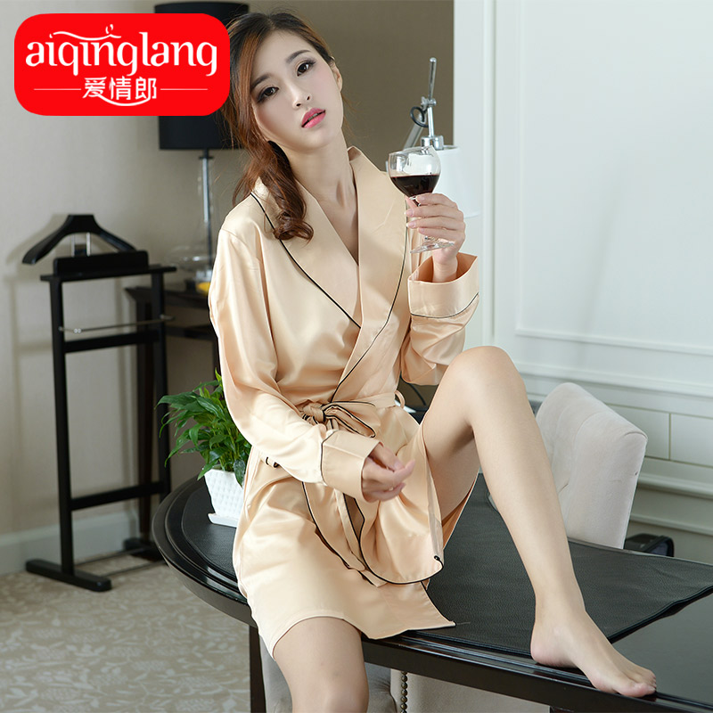 Lang love silk nightgown sexy temptation silk nightgown ms. tracksuit pyjamas summer youth 2016 new