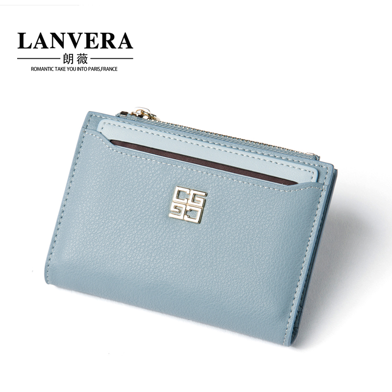 Lanvera lang jorvi japan and south korea the new leather first layer of leather ms. short paragraph two fold wallet zipper wallet purse female