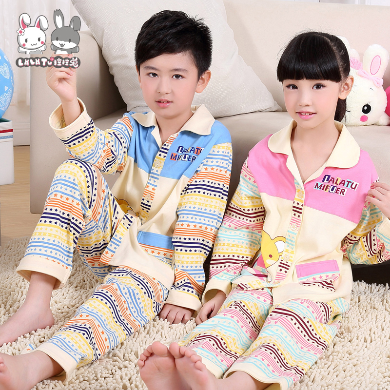 Lara rabbit children's pajamas boys girls cotton long sleeve spring models baby boy suit children's clothes at home sleeping