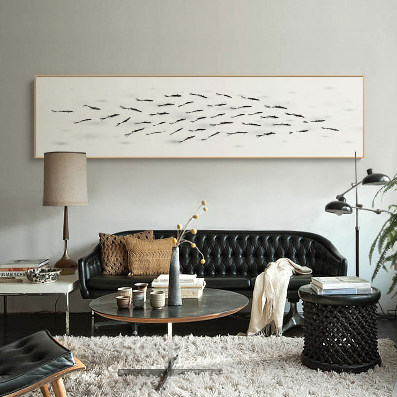 Get Quotations · Large Ink Painting The Living Room Decorative Painting  Abstract Fish Horizontal Hotel Bedside Paintings Modern Minimalist Part 89