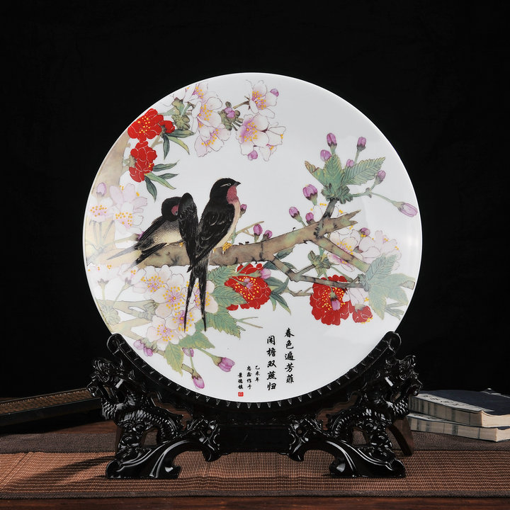 Large jingdezhen ceramic decorative plate sit upscale decorative plate hanging plate modern home decoration crafts ornaments