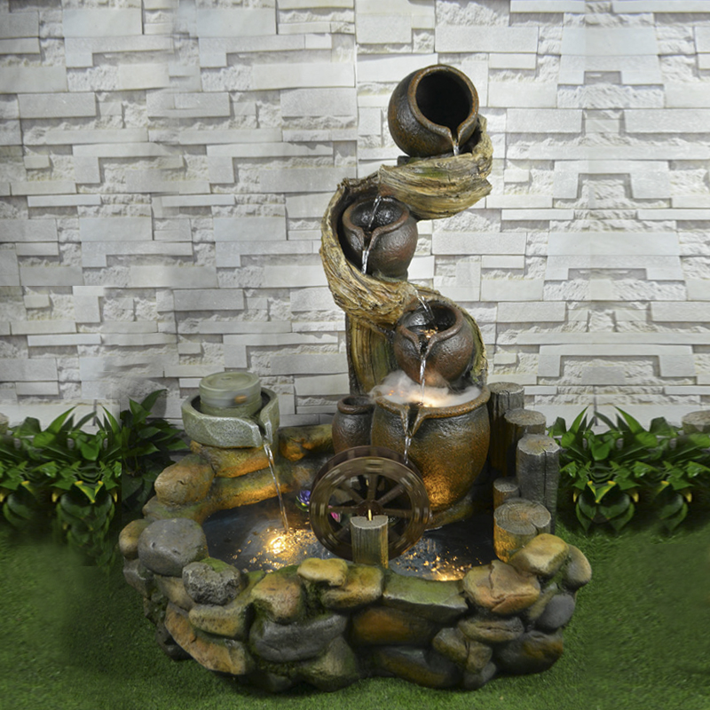 Large Living Room Feng Shui Round Pond Rockery Water Fountain Water  Humidifier Home Chinese Style Resin