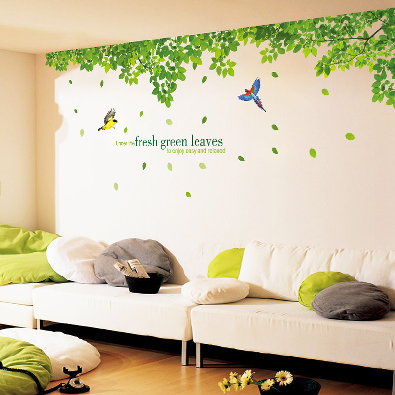 Large living room tv sofa background bedroom bedside wall stickers fresh green tree green leaf wallpaper adhesive wall sticker