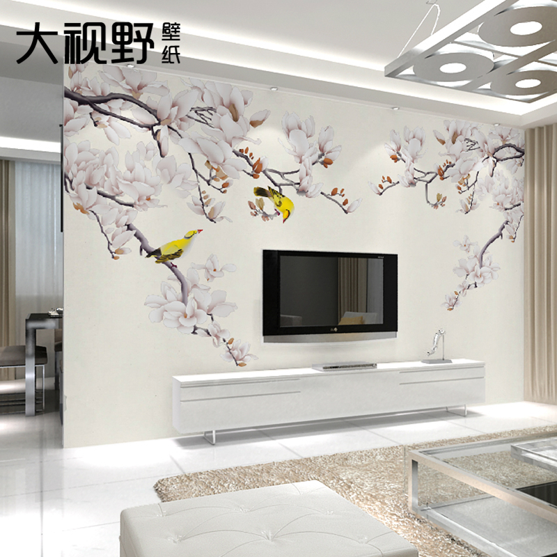Large mural backdrop of modern chinese living room sofa backdrop magnolia wallpaper bedroom wallpaper background wallpaper