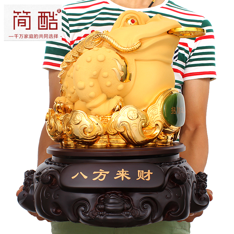 Large opening three gold ornaments lucky toad toad kyrgyzstan creative home feng shui mascot ornaments opening gifts