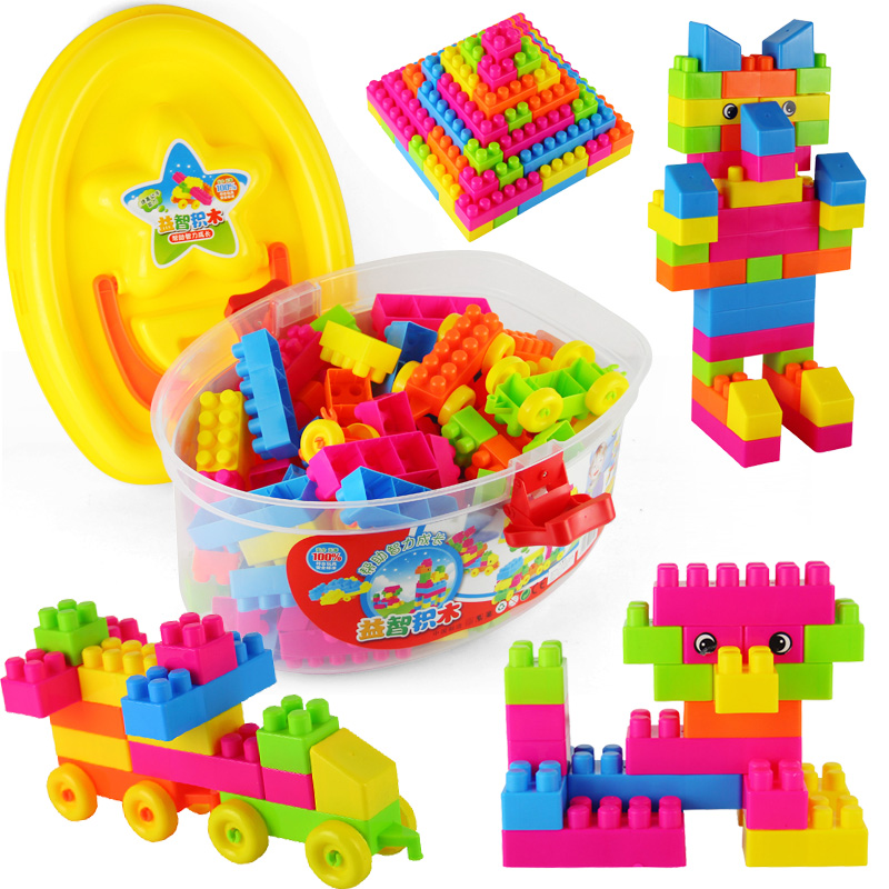 Large particles bottled baby music intelligence high building blocks assembled children's educational toys fight inserted plastic building blocks tablets