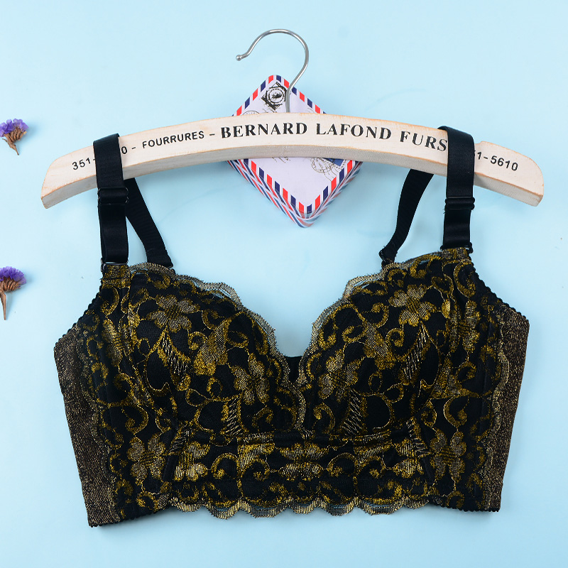 Large size thin section no sponge underwear gather thin section no rims sexy bra set gather mold cup fat mm