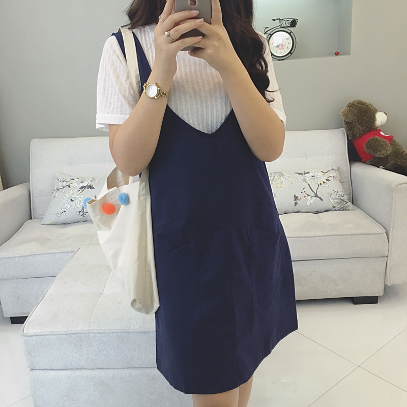 Large size women fat sister summer dress strap dress fat mm cotton long section of the heart back dress fertilizer to increase 200