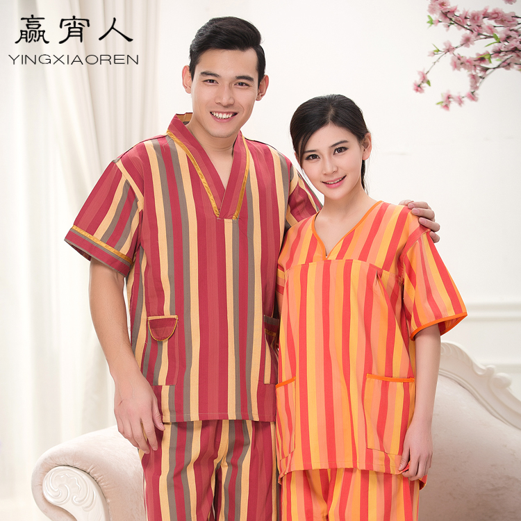 Large size women upscale khan steam bath robes for men and women han steaming clothes bathrobe sauna suits clothes free shipping
