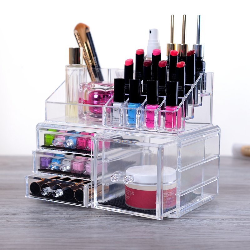 Large transparent acrylic cosmetic storage box desktop storage rack makeup dresser drawer dressing care skin products