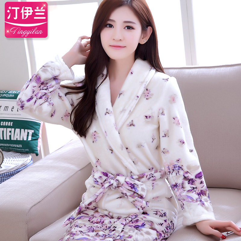 Get Quotations · Lavender female thick flannel robe bathrobe coral velvet  pajamas long sleeve autumn and winter can love 4cd312f19