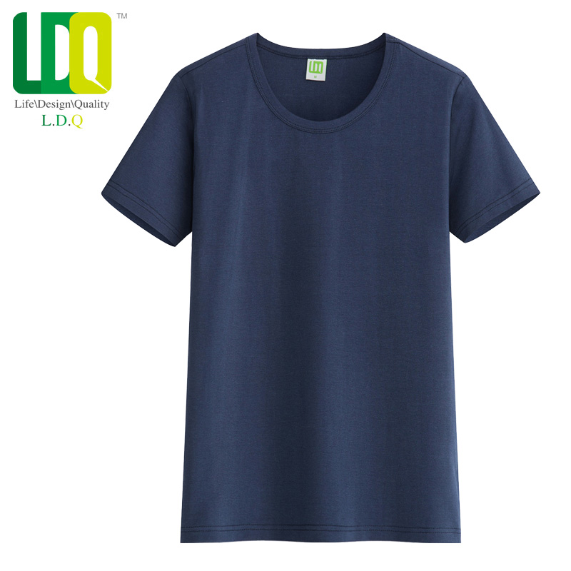 Ldq cotton short sleeve t-shirt t-shirt korean version of the trend of male summer solid color sleeve round neck t