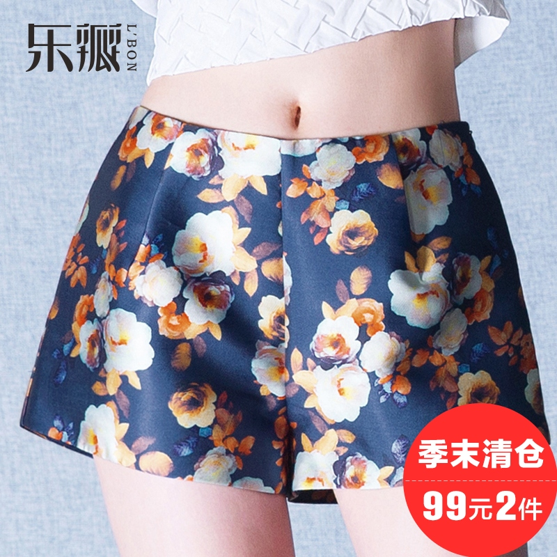 Le flap summer new shorts printing and dyeing printing straight jeans casual pants ladies outer wear wide leg pants shorts