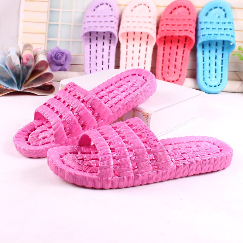 Leaking bathroom slippers slip bath home summer home indoor flooring male and female couple hollow sandals and slippers