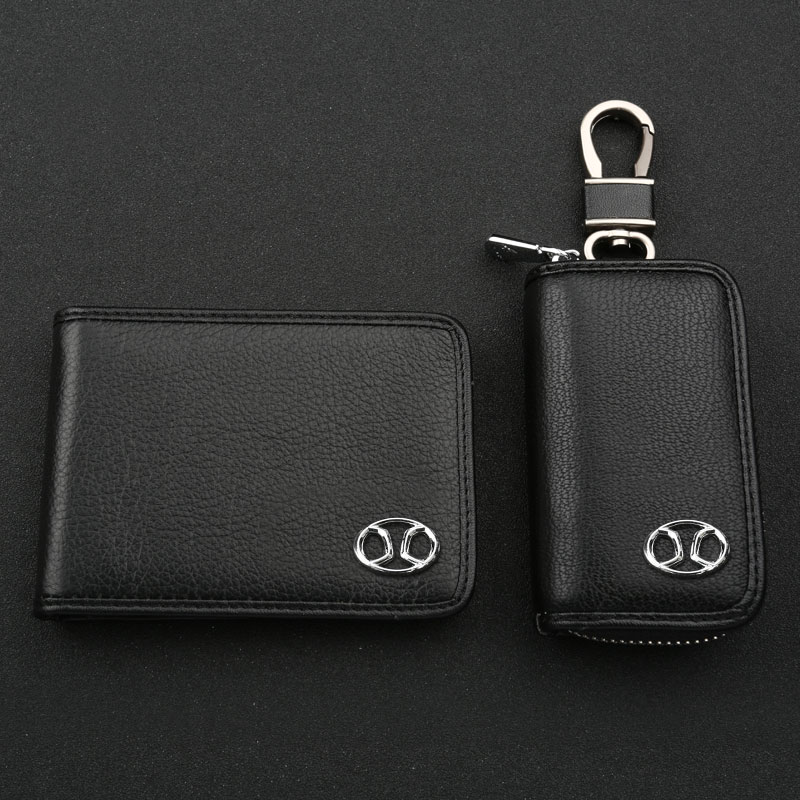 Leather car key cases x25 x55 beiqi saab x65 d20 d50 e series driving documents package set