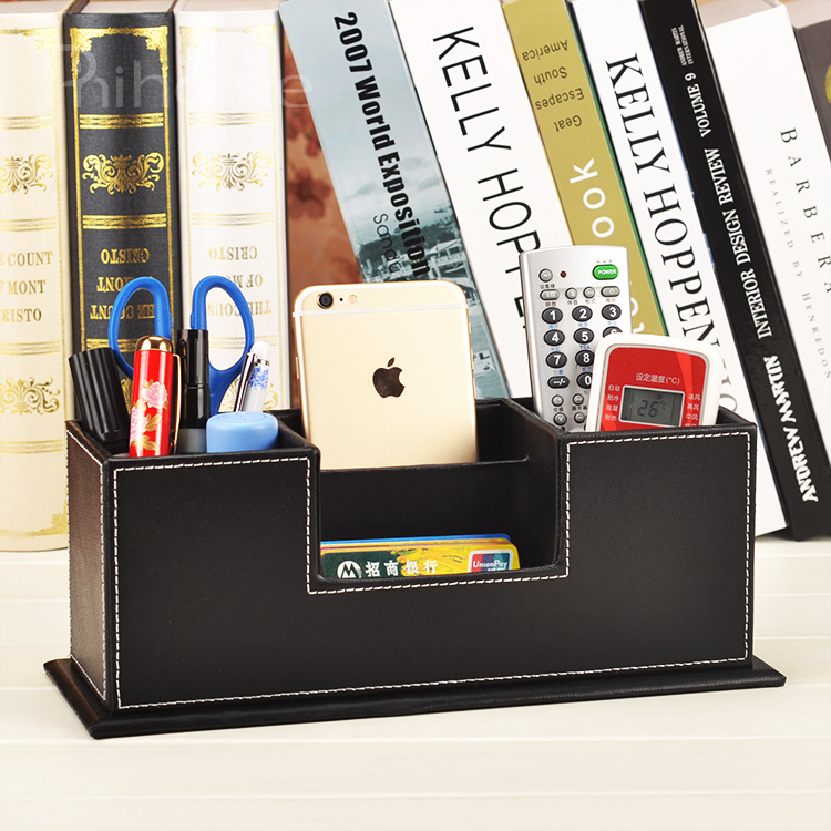 Leather leather pen holder stationery storage box desktop multifunction office supplies business card holder fashion creative business