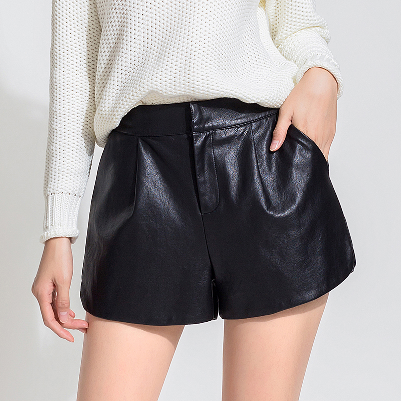 Leather shorts female autumn and winter 2016 new winter outer wear big yards boots pants waist a word wide leg was thin pu leather pants