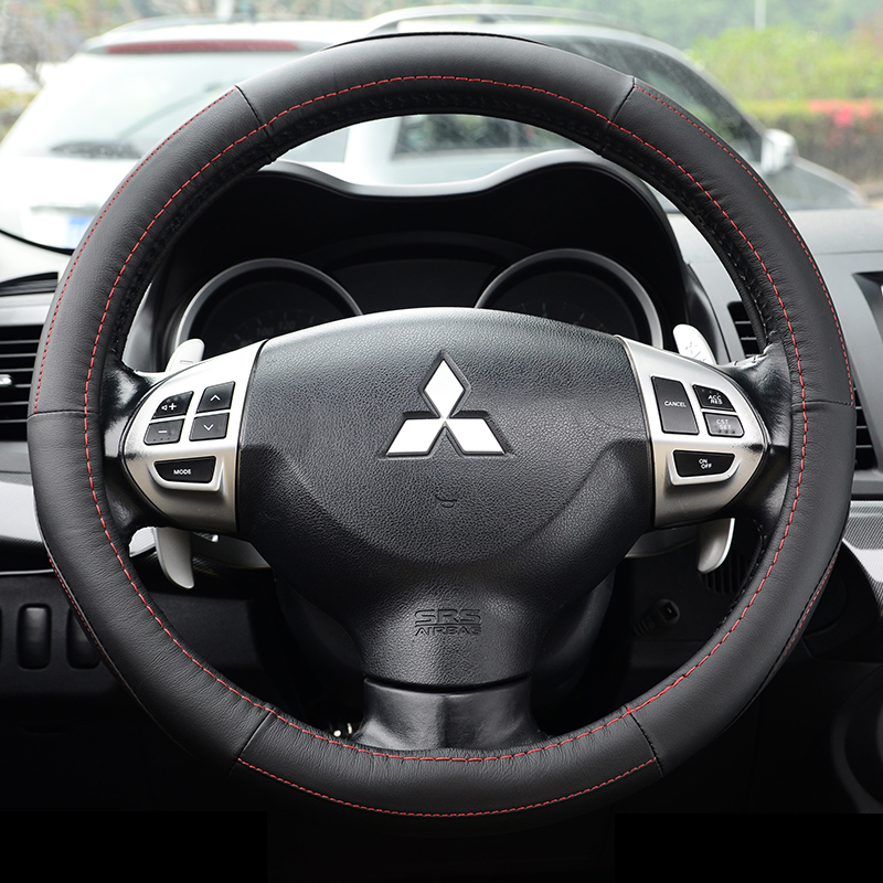 Leather steering wheel cover applicable guangqi mitsubishi asx jin hyun wing of god lancer outlander galant monarch court grips