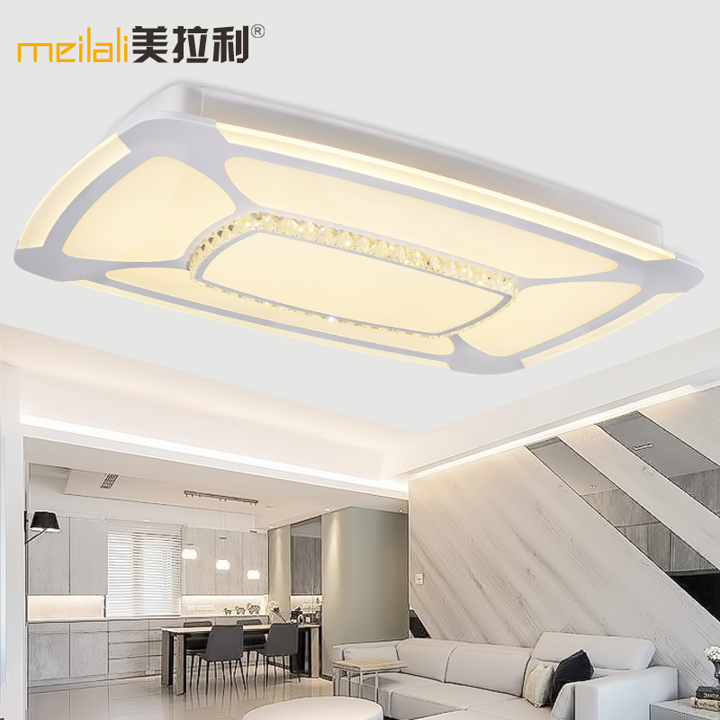 Led ceiling light rectangular living room lamps bedroom room lighting fixtures modern minimalist atmosphere promise dimming round crystal