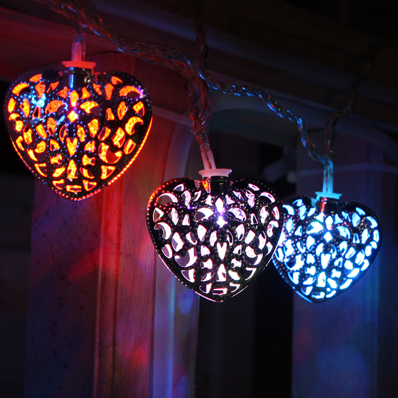 Led lantern string lights flashing heart wedding supplies iron craft birthday arranged marriage room decorative lights outdoor string lights
