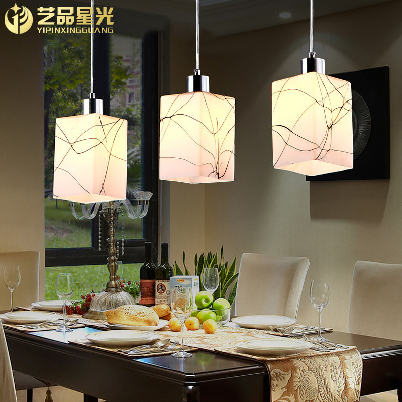 Led modern minimalist restaurant chandelier fashion three glass lamps lighting the living room aisle lights
