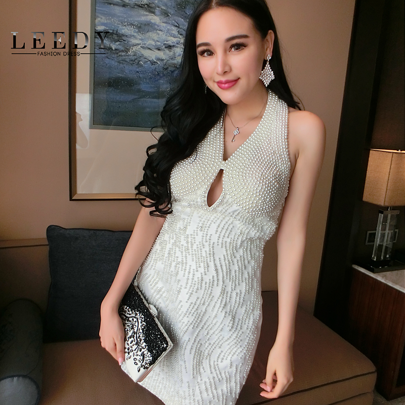 Leedy custom in europe and america upscale nail drill halter evening dress birthday party dress sexy dress short paragraph hosted