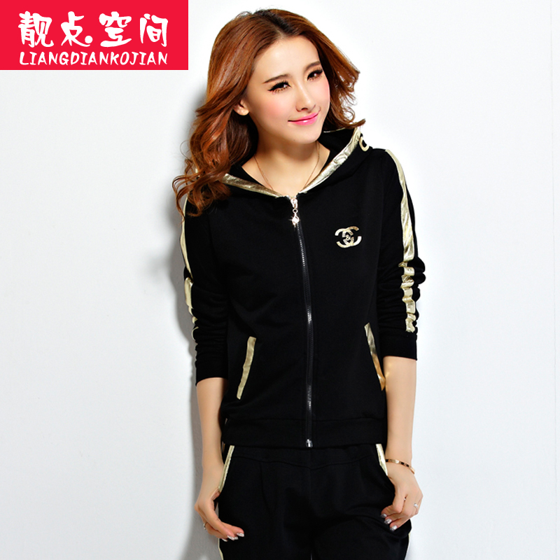 Leisure sports suit female spring 2016 new large size korean version was thin sports suit casual sweater suit female